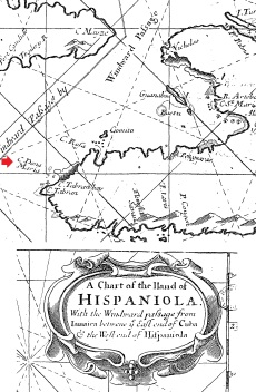 A map from 1698 showing the location of Cape Dona Maria, where Thatch and Hornigold encountered the brigantine Lamb.