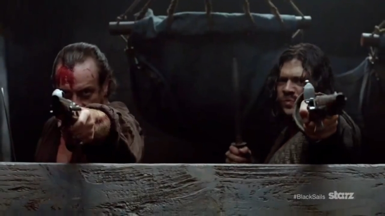 James Flint and John Silver in season 2, episode 1 of Black Sails.