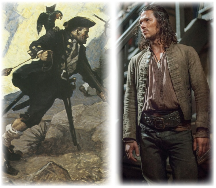 To the left, the N.C. Wyeth 1911 illustration of Long John Silver from Treasure Island. To the right, Luke Arnold portraying a young John Silver in season 2 of Black Sails in 2015.